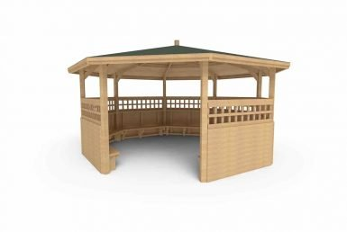 QF093 - Octagonal Shelter - With Sides, Seating and Trellis copy