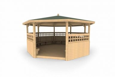QF094 - Octagonal Shelter - With Sides, Seating, Trellis and Decking copy