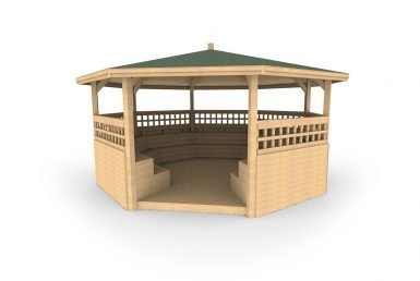 QF096 - Octagonal Shelter - With Tiered Seating, Sides, Trellis and Decking copy