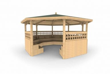 QF097 - Octagonal Shelter - With Tiered Seating, Sides and Trellis copy