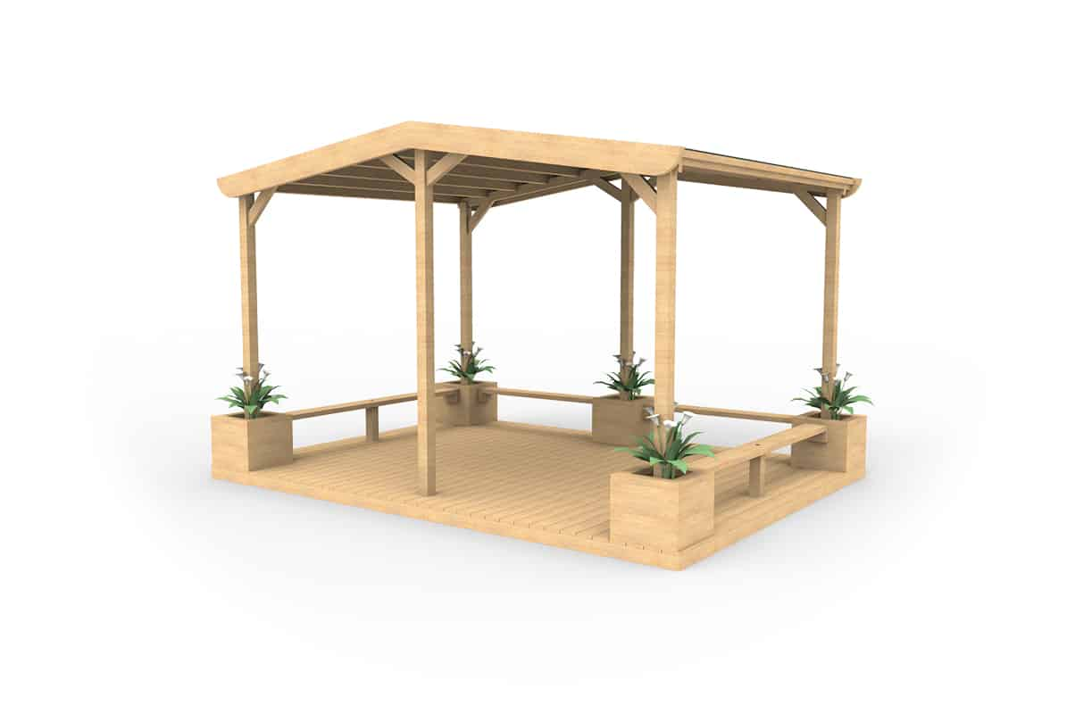 Large Area Maintenance Shelters : Large shelter with seating planters and decking esp