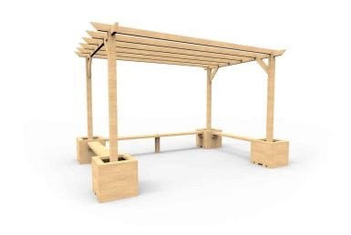 QF105 - Small Pergola with Seating and Planters copy