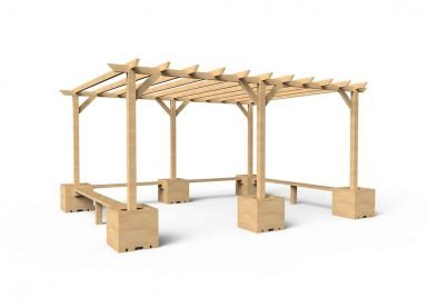 QF107 - Large Pergola with Seating and Planters copy