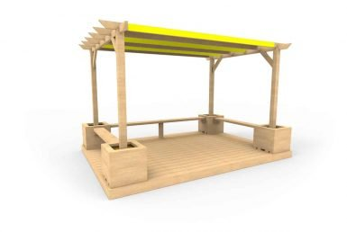 QF111 - Small Shaded Pergola with Seating, Planters and Decking copy