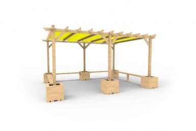 QF113 - Large Shaded Pergola with Seating and Planters copy
