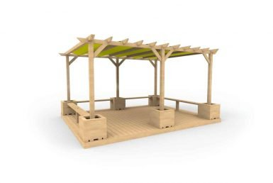 QF114 - Large Shaded Pergola with Seating, Planters and Decking copy