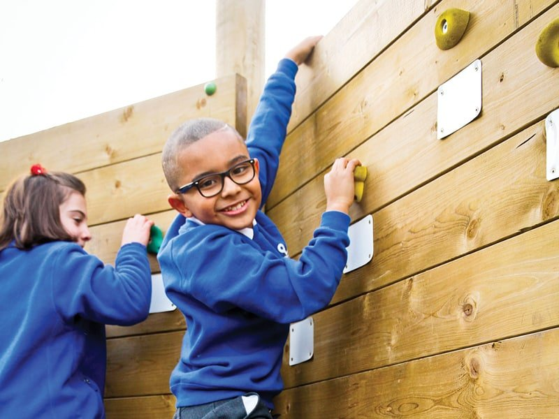 Playground climbing frames, equipment, and structures to provide a range of physical challenges within school play areas.