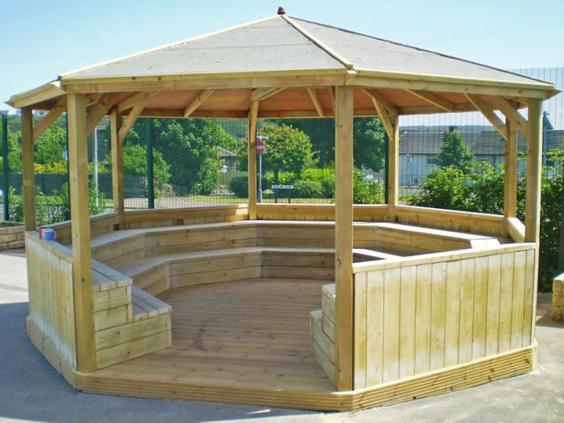 Outdoor classrooms and shelters for teaching and quiet chill-out play areas in schools.