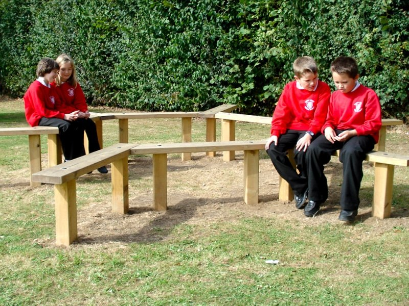 Seating and outdoor furniture for schools and play areas.